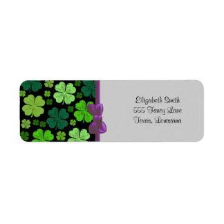 Saint Patrick's Day, Clovers, Swirls - Black Green Custom Return Address Label
