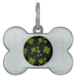 Saint Patrick's Day, Clovers, Swirls - Black Green Pet Name Tags