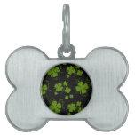 Saint Patrick's Day, Clovers, Swirls - Black Green Pet Name Tags