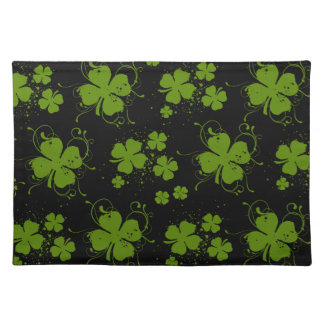 Saint Patrick's Day, Clovers, Swirls - Black Green Placemat