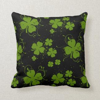 Saint Patrick's Day, Clovers, Swirls - Black Green Throw Pillow