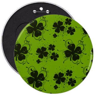 Saint Patrick's Day, Clovers, Swirls - Green Black Pinback Buttons