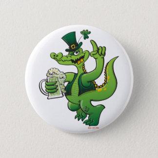 Saint Patrick's Day Crocodile Drinking Beer Pinback Button