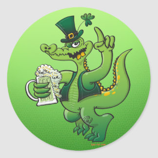 Saint Patrick's Day Crocodile Drinking Beer Round Stickers