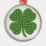 Saint Patricks Day Four Leaf Clover Good Luck Round Metal Christmas Ornament