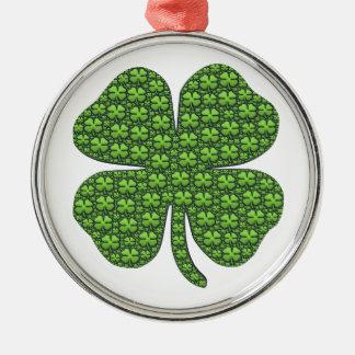 Saint Patricks Day Four Leaf Clover Good Luck Round Metal Christmas Ornament
