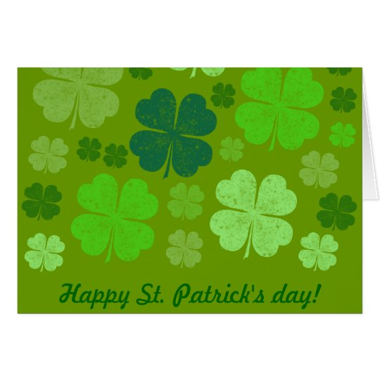 Saint Patrick's Day, Four Leaf Clovers - Green Card