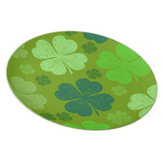 Saint Patrick's Day, Four Leaf Clovers - Green Plate
