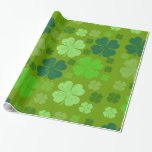 Saint Patrick's Day, Four Leaf Clovers - Green Gift Wrap Paper