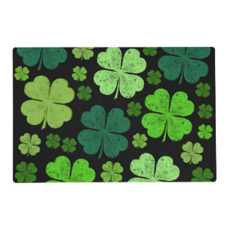 Saint Patrick's Day, Four Leafed Clovers - Green Laminated Placemat