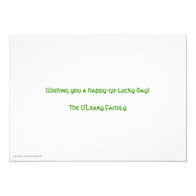 Saint Patrick's Day Frog, Pot of Gold with Rainbow 5x7 Paper Invitation Card (back side)