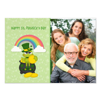 Saint Patrick's Day Frog, Pot of Gold with Rainbow Card