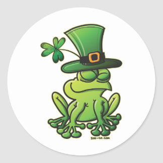 Saint Patrick's Day Frog Round Stickers