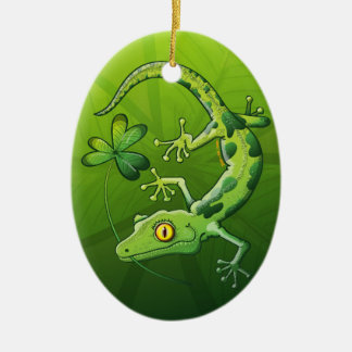 Saint Patrick's Day Gecko Ceramic Ornament