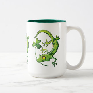 Saint Patrick's Day Gecko Two-Tone Coffee Mug
