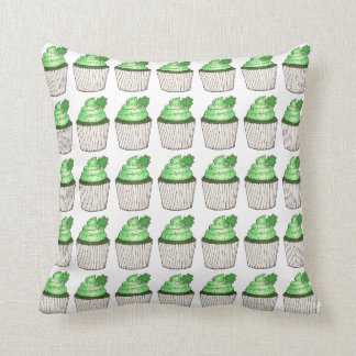 Saint Patrick's Day Green Cupcake Shamrock Pillow