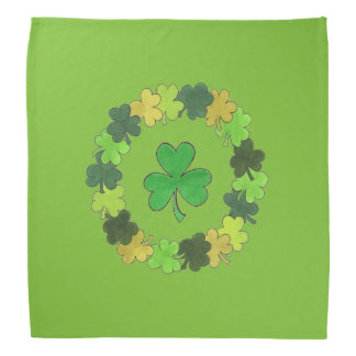 Saint Patrick's Day Green Shamrock Wreath Bandana