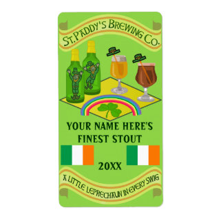 Saint Patrick's Day Home Brew Beer Bottle Label Shipping Label