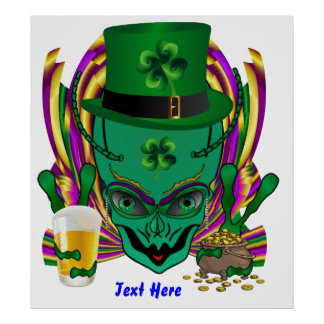 Saint Patrick's Day I Come in peace day. Poster