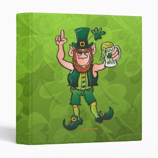 Saint Patrick's Day Leprechaun Drinking Beer 3 Ring Binder