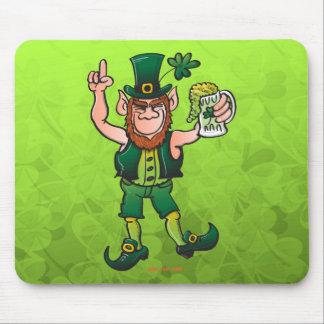 Saint Patrick's Day Leprechaun Drinking Beer Mouse Pad