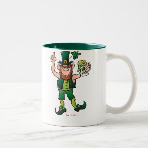 Saint Patrick's Day Leprechaun Drinking Beer Two-Tone Coffee Mug