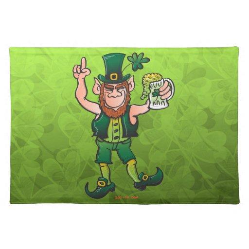 saint patrick 39 s day leprechaun drinking beer placemat zazzle