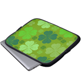 Saint Patrick's Day, Lucky Clovers - Green Laptop Sleeve