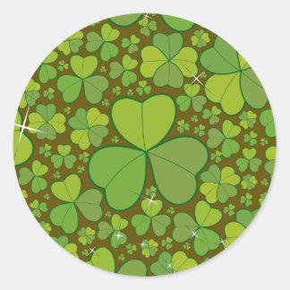 Saint Patrick's Day Lucky Clovers Shamrock Irish Classic Round Sticker