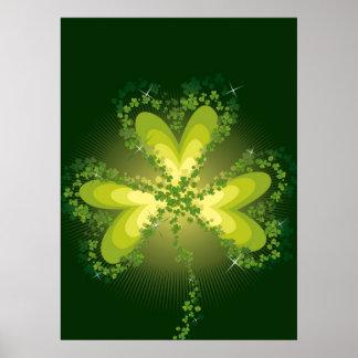 Saint Patrick's Day Lucky Clovers Shamrock Irish Poster