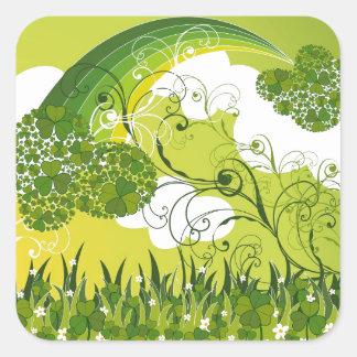 Saint Patrick's Day Lucky Clovers Shamrock Irish Square Sticker