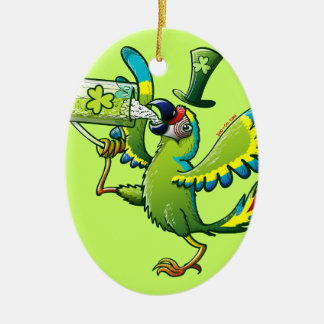Saint Patrick's Day Macaw Ceramic Ornament