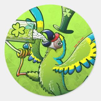 Saint Patrick's Day Macaw Classic Round Sticker