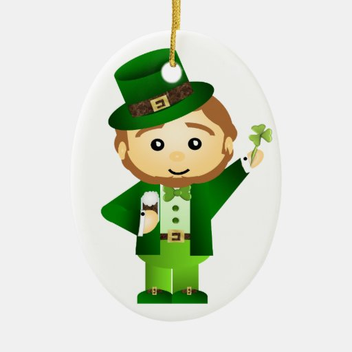 Saint Patrick's Day Double-Sided Oval Ceramic Christmas Ornament