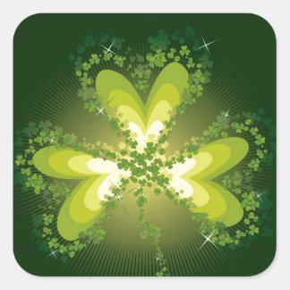 Saint Patrick's Day Shamrock Lucky Clover Leaf Square Sticker