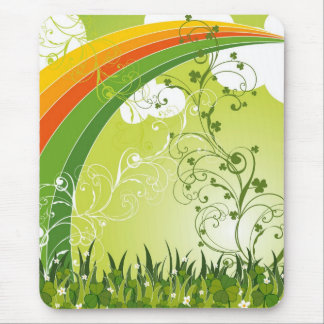 Saint Patrick's Day Shamrock Lucky Clovers Leaves Mouse Pad