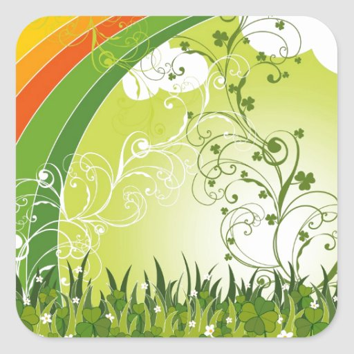 Saint Patrick's Day Shamrock Lucky Clovers Leaves Square Sticker