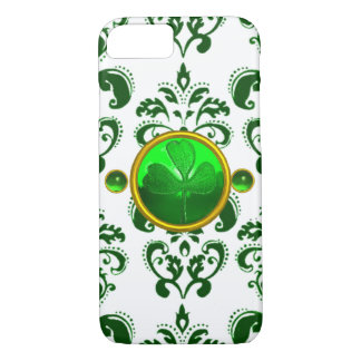 SAINT PATRICK'S DAY SHAMROCK WITH GREEN DAMASK iPhone 7 CASE
