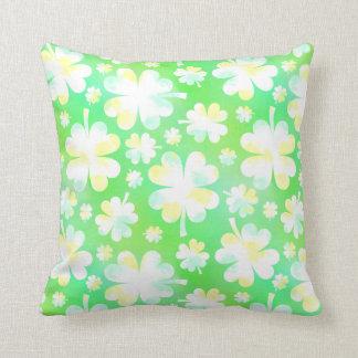 Saint Patrick's Day Shamrocks Retro Watercolor Throw Pillow
