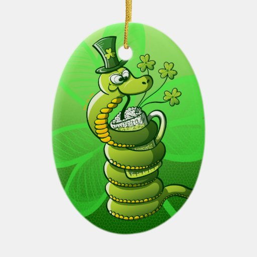 Saint Patrick's Day Snake Double-Sided Oval Ceramic Christmas Ornament