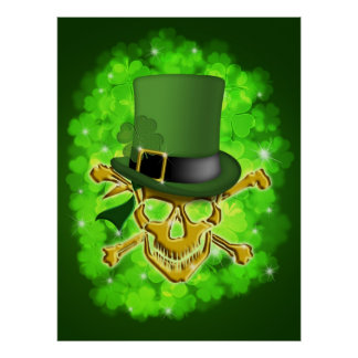 Saint Patricks Day with Skull and Crossbones Poste Poster