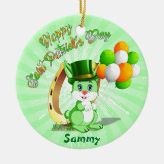 Saint Patrick's Green Bunny Cartoon Ceramic Ornament
