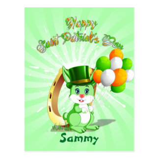 Saint Patrick's Green Bunny Cartoon Postcard