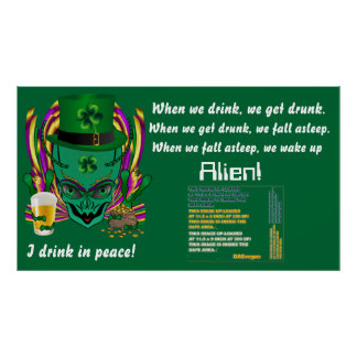 """Saint Patrick's I drink in peace day.  60""""X34"""" Poster"""