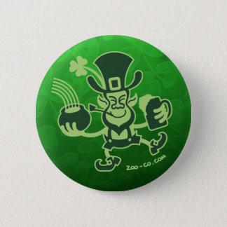 Saint Patrick's Leprechaun Dancing and Celebrating Pinback Button