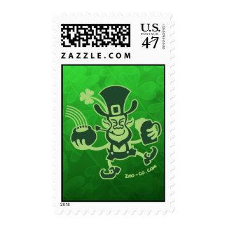 Saint Patrick's Leprechaun Dancing and Celebrating Stamp