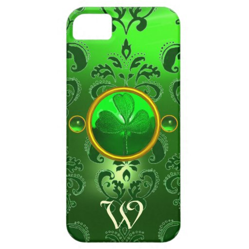 SAINT PATRICK'S SHAMROCK GREEN DAMASK MONOGRAM iPhone 5 CASES