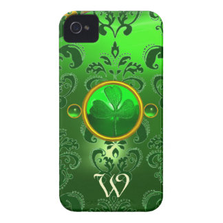 SAINT PATRICK'S SHAMROCK GREEN DAMASK MONOGRAM iPhone 4 COVER