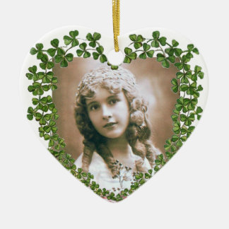 SAINT PATRICK'S SHAMROCK HEART PHOTO TEMPLATE Double-Sided HEART CERAMIC CHRISTMAS ORNAMENT