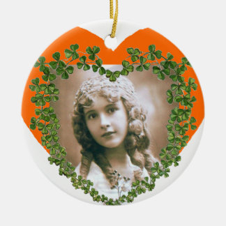 SAINT PATRICK'S SHAMROCK HEART PHOTO TEMPLATE Double-Sided CERAMIC ROUND CHRISTMAS ORNAMENT